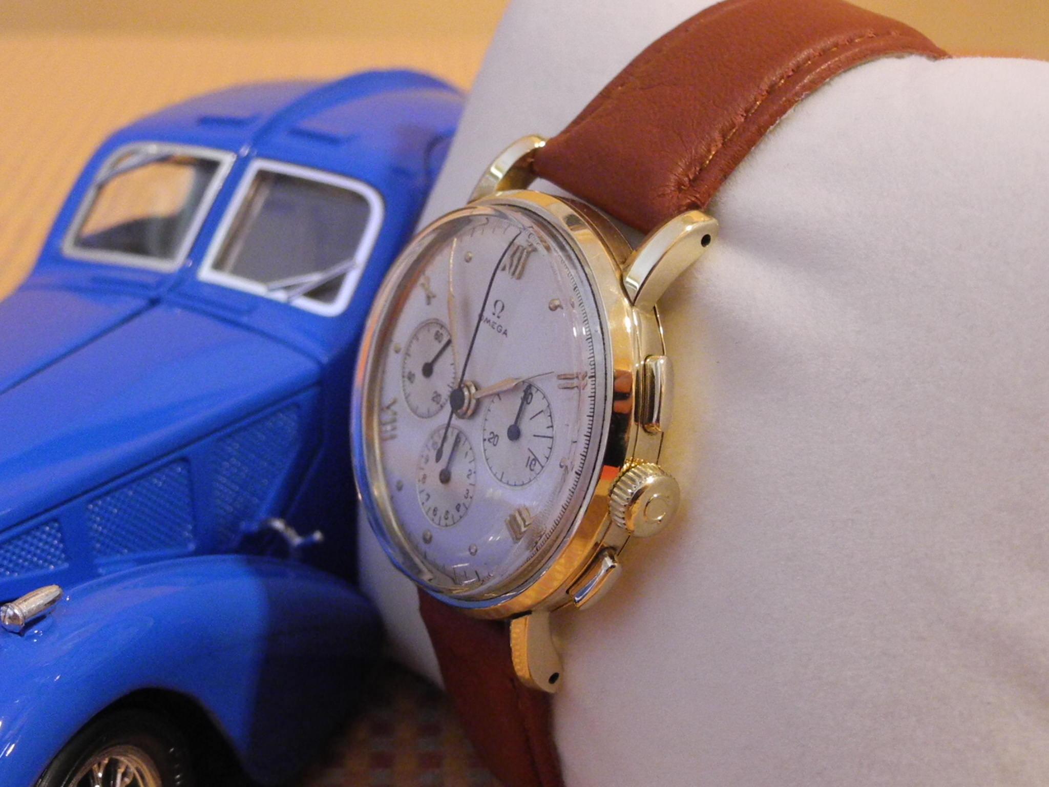 Omega 18 k 750er Gelbgold Chronograph 1946 !