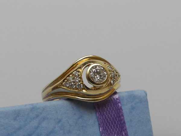 Brilliant Ring 0,35/0,18 ct/si-pi 14 K 585 Gold