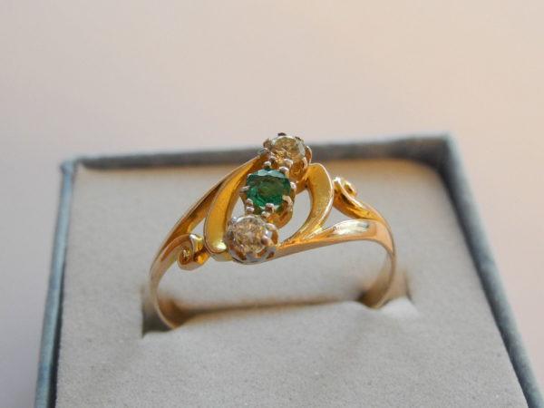 Tricolor Goldring Brillanten / Smaragd