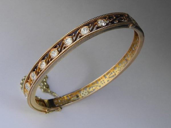 Diamant Armreif Jugendstil 14 K 585 Gold Diamanten 1,50ct w/si