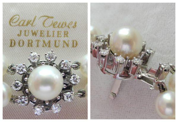 Perlenkette 2-reihig mit 750/18k Weißgold-Schliesse Brillanten 1,00ct w/si