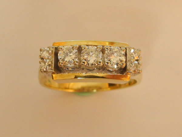 Art Deco Brilliant Ring 14 K 585 Gold 7 Brillianten / 0,55 ct W/Lupenrein